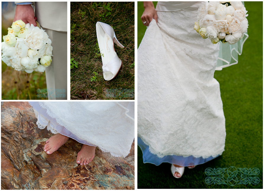 Bride shoes and Bouquet